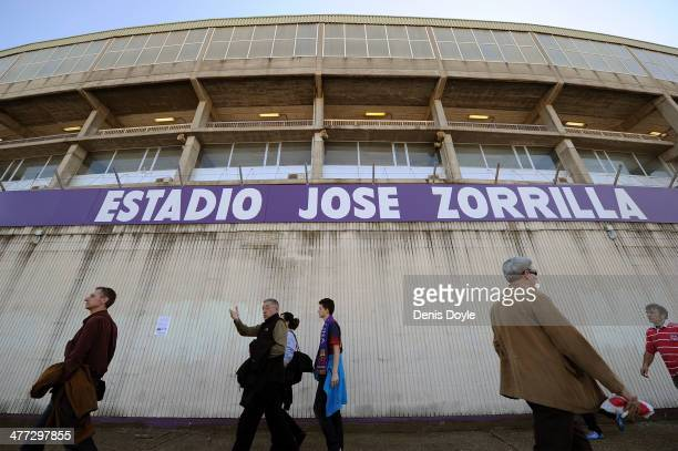 Real Valladolid fans arrive at their Jose Zorillo stadium before the La Liga match between Real Valladolid CF and FC Barcelona at Estadio Nuevo Jose...