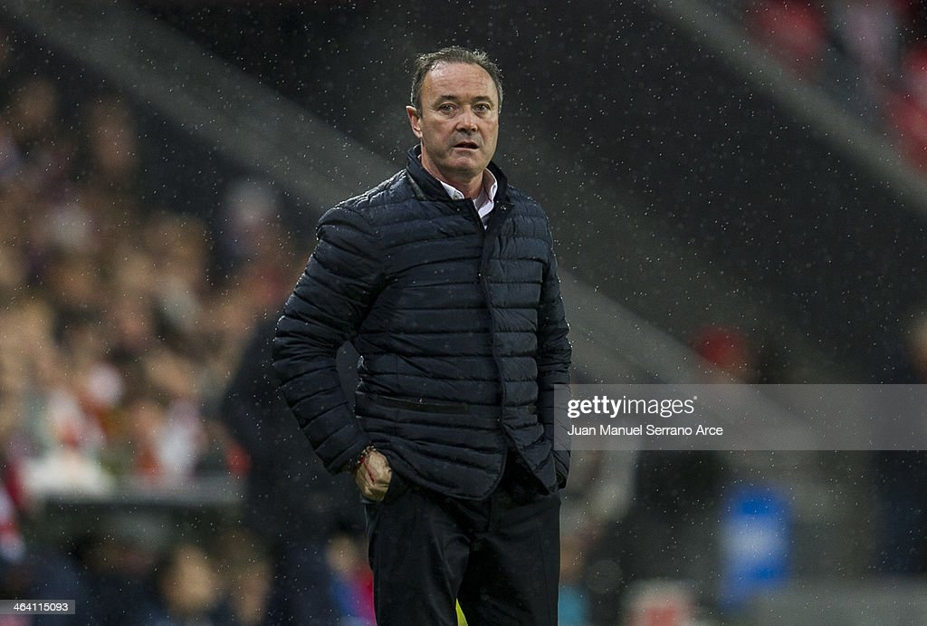 Real Valladolid head coach Juan Ignacio Martinez looks on during the La liga match between of Athletic Club Bilbao and Real Valladolid CF at San Mames Stadium on January 20, 2014 in Bilbao, Spain.