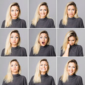 Real woman making different facial expressions, studi oshot