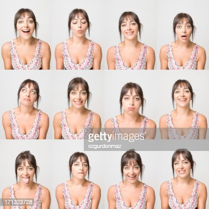 Real young woman making facial expressions