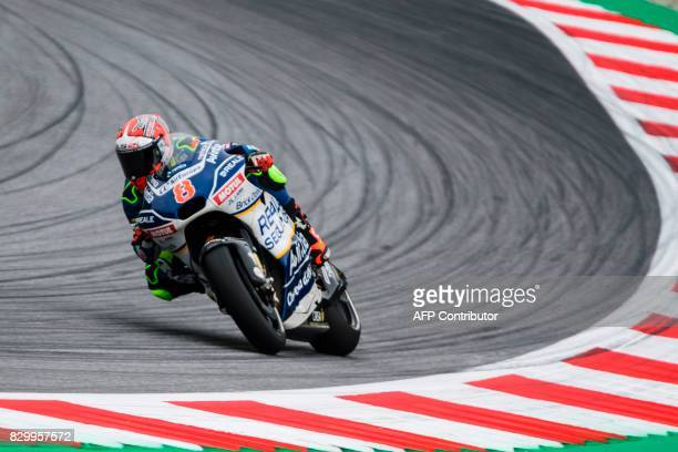 Reale Avintia Racing's Spanish rider Hector Barbera competes during the first practice session of the MotoGP Austrian Grand Prix weekend at the Red...