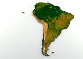 3D rendering of extruded high-resolution physical map (with relief) of the South American Continent,isolated on white background. Modeled and rendered with Houdini 16.5 Satellite image from NASA: http
