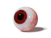 3d rendering of an eye ball with shadow on white ground