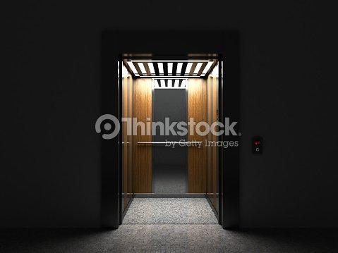 Realistic Open Empty Elevator With Half Door Render