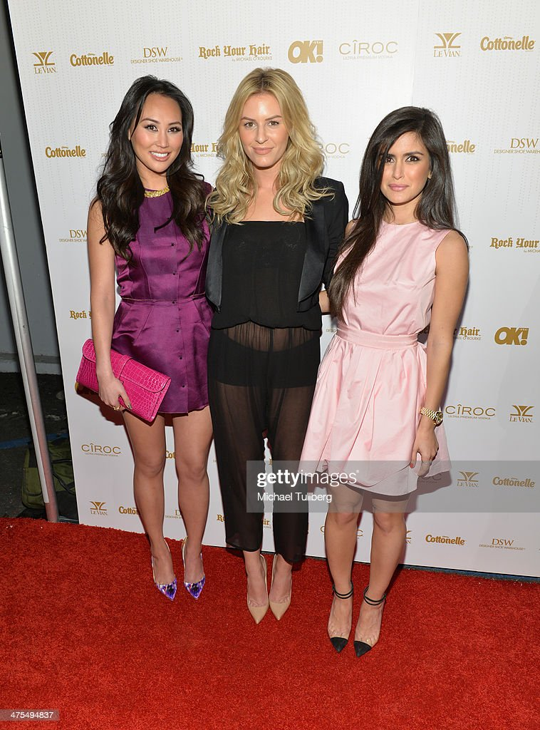Reality actors Dorothy Wang, Morgan Stewart and Roxy Sowalty attend OK! Magazine's Pre-Oscar Party at Greystone Manor Supperclub on February 27, 2014 in West Hollywood, California.