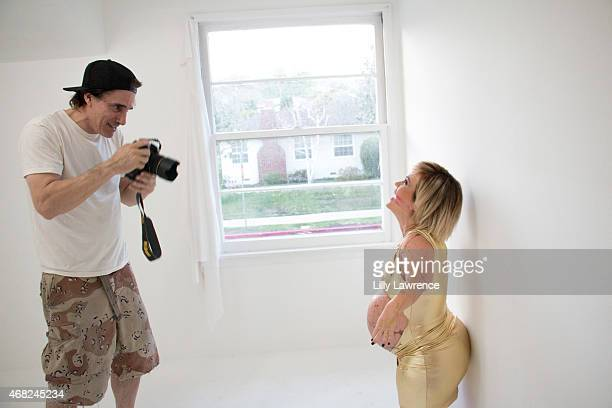Reality Actress Terra Jole with photographer Michael Bezjian behind the scenes at The SAP The Starving Artists Project on March 3 2015 in Los Angeles...