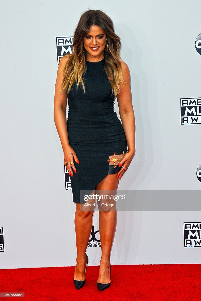 Reality star Khloe Kardashian arrives for the 42nd Annual American Music Awards held at Nokia Theatre L.A. Live on November 23, 2014 in Los Angeles, California.