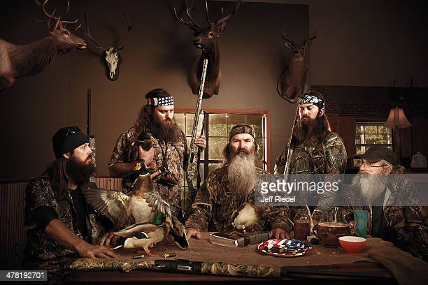 Reality television personalities from Duck Dynasty Jase Robertson Willie Robertson Phil Robertson Jep Robertson and Si Robertson are photographed for...