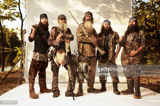 Reality television personalities from Duck Dynasty Jase Robertson Si Robertson Phil Robertson Willie Robertson and Jep Robertson are photographed for...