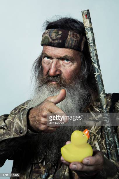 Reality television personalities from Duck Dynasty Phil Robertson is photographed for GQ Magazine on October 24 2013 in West Monroe Louisiana...
