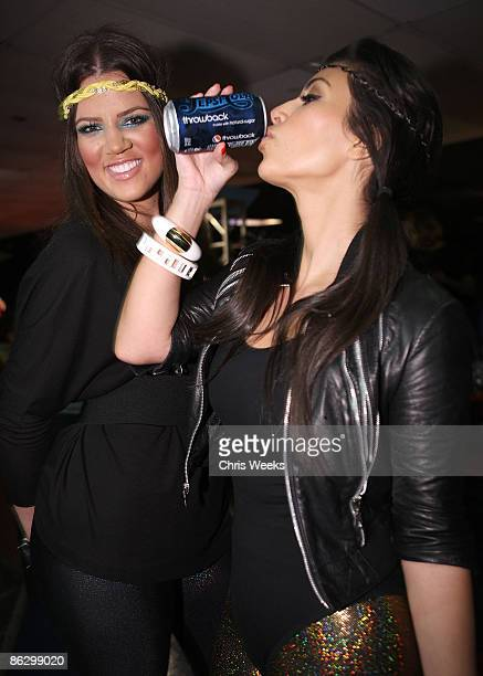 Reality television personalities Khloe Kardashian and Kim Kardashian attend a party launching Pepsi Throwback at World on Wheels on April 29 2008 in...