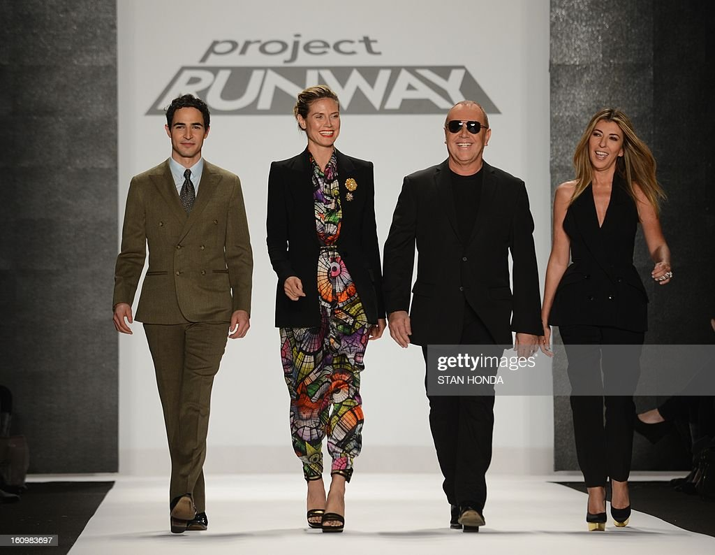 Reality television show Project Runway judges designer Zac Posen (L), model Heidi Klum (2nd L), designer Michael Kors (2nd R) and Columbian fashion journalist Nina Garcia (R) appear before the Project Runway show during the Mercedes-Benz Fashion Week Fall 2013 collections on February 8, 2013 in New York. AFP PHOTO/Stan HONDA