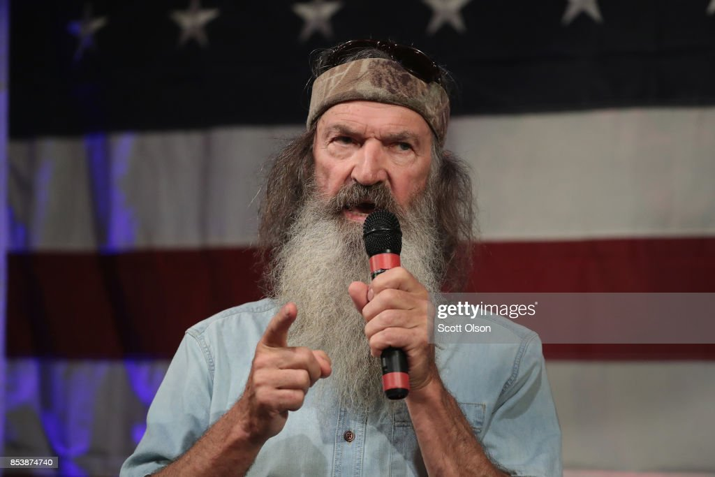 Reality television star Phil Robertson speaks at a campaign event for Republican candidate for the U.S. Senate in Alabama Roy Moore on September 25, 2017 in Fairhope, Alabama. Moore is running in a primary runoff election against incumbent Luther Strange for the seat vacated when Jeff Sessions was appointed U.S. Attorney General by President Donald Trump. The runoff election is scheduled for September 26.