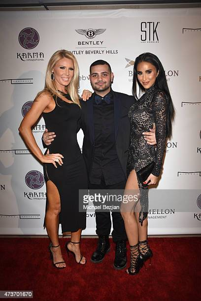 Reality TV actress Gretchen Rossi Fashion Designer Michael Costello and Reality TV actress Lilly Ghalichi arrive at Karma International's Black White...