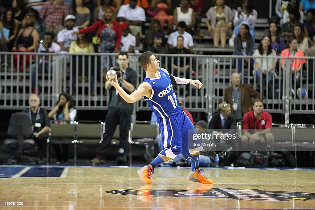 Reality TV celebrity Vinny Guadagnino of the East team tosses out t-shirts during the Sprint All-Star Celebrity Game on center court at Jam Session during the NBA All-Star Weekend on February 24, 2012 at the Orange County Convention Center in Orlando, Florida.