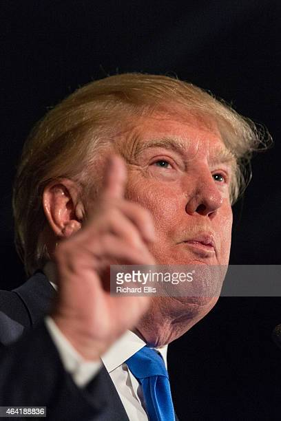 Reality TV host and New York real estate mogul Donald Trump speaks during the Republican Society Patriot Dinner at the Citadel Military College on...