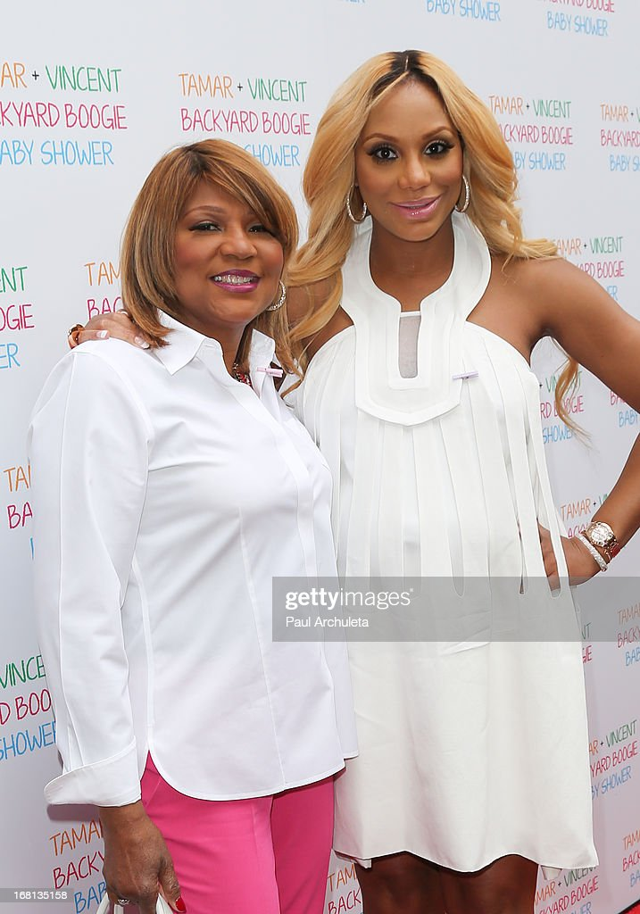 Reality TV Personalities Evelyn Braxton (L) and <a gi-track='captionPersonalityLinkClicked' href=/galleries/search?phrase=Tamar+Braxton&family=editorial&specificpeople=2079619 ng-click='$event.stopPropagation()'>Tamar Braxton</a> (R) attend her carnival themed baby shower at the Hotel Bel-Air on May 5, 2013 in Los Angeles, California.