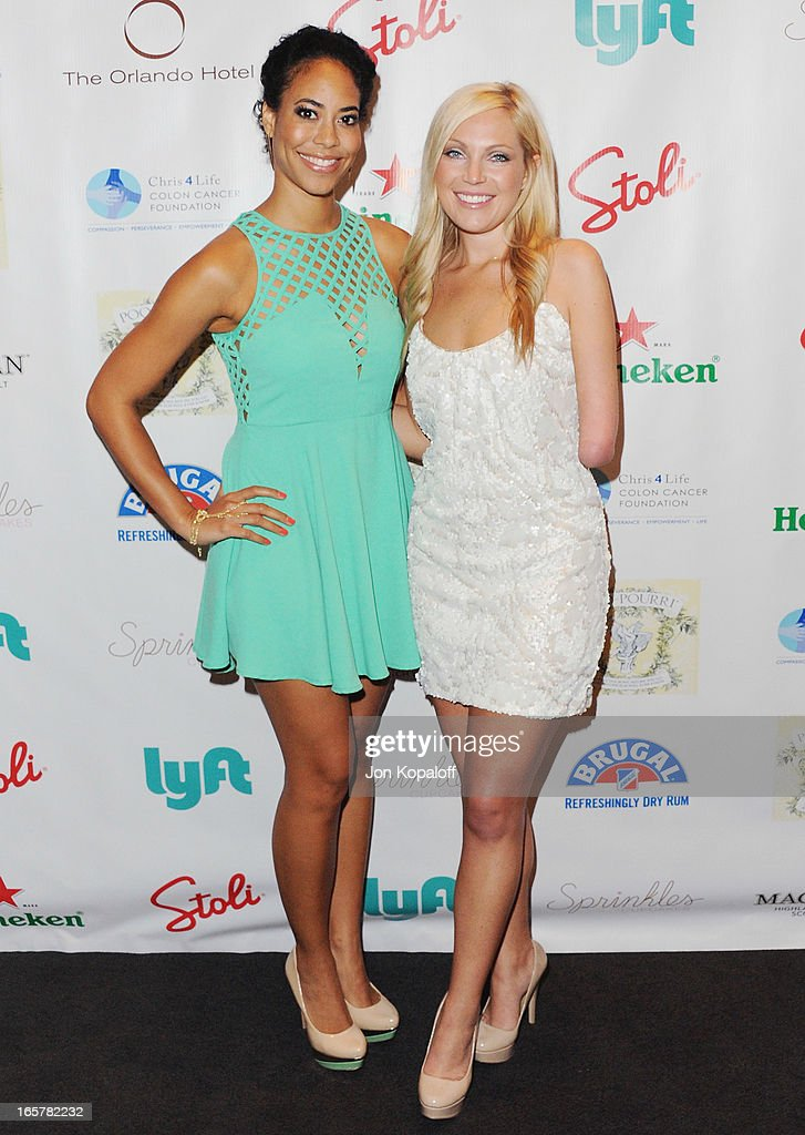 Reality TV personalities Leslie A. Hughes (L) and Sarah Herron arrive at the 2nd Annual Chris4Life Celebrity Auction at SLS Hotel on April 5, 2013 in Beverly Hills, California.