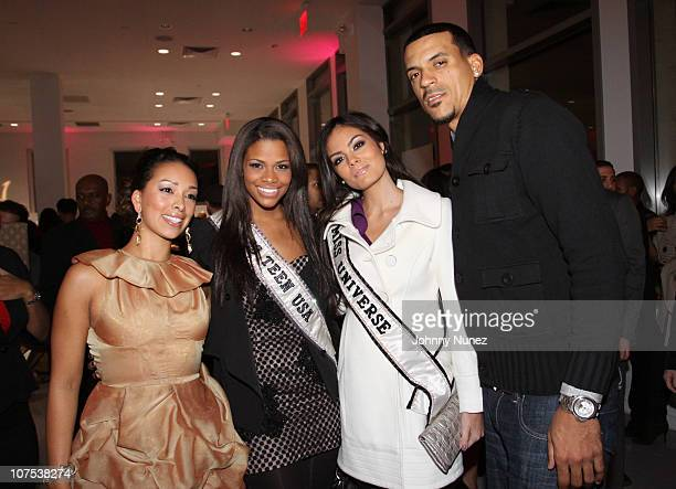 Reality TV personality Gloria Govan Miss Teen USA 2010 Kamie Crawford Miss Universe 2010 Jimena Navarrete and NBA player Matt Barnes attend the...