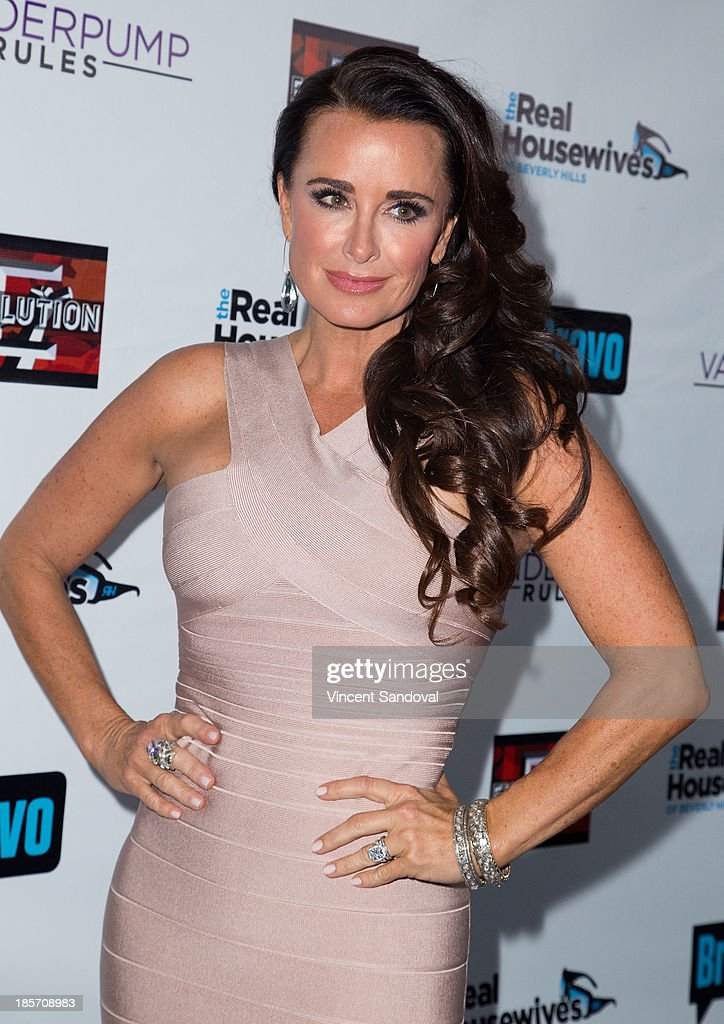 Reality TV personality <a gi-track='captionPersonalityLinkClicked' href=/galleries/search?phrase=Kyle+Richards&family=editorial&specificpeople=2586434 ng-click='$event.stopPropagation()'>Kyle Richards</a> attends 'The Real Housewives Of Beverly Hills' and 'Vanderpump Rules' premiere party at Boulevard3 on October 23, 2013 in Hollywood, California.