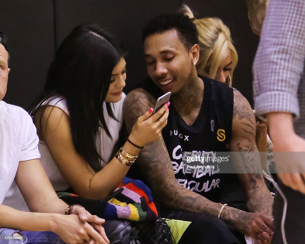 Reality TV Personality Kylie Jenner and Rapper Tyga attend the 'Celebrity Basketball Spectacular' to benefit the Sports Spectacular at Equinox Sports...