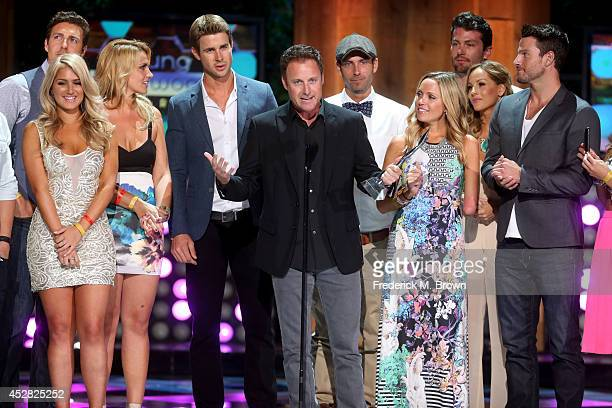 Reality TV Show Host Chris Harrison and the casts of 'The Bachelor' and 'The Bachelorette' receiving The Rality Royalty Award at the 2014 Young...