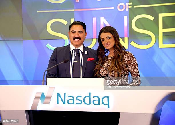 Reality TV show personalities Reza Farahan and Golnesa 'GG' Gharachedaghi ring the closing bell at NASDAQ MarketSite on March 4 2015 in New York City...
