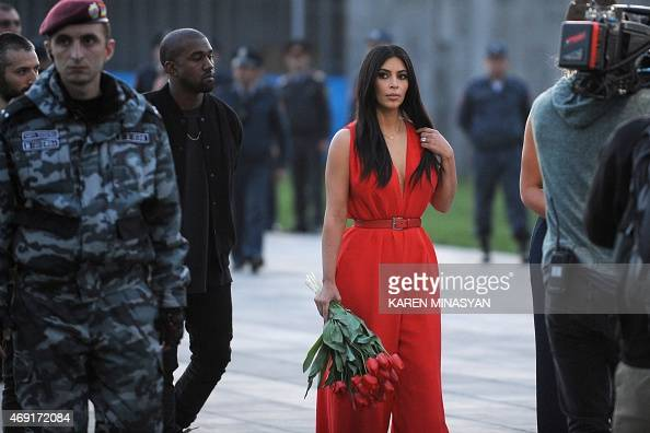 US reality TV star Kim Kardashian and her rapper husband Kanye West visit the genocide memorial which commemorates the 1915 mass killing of Armenians...