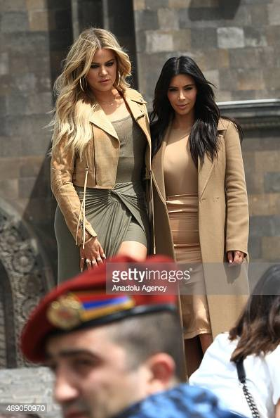 S reality TV star Kim Kardashian and her sister Khloe Kardashian pose for a photo as they take a walk through sightseeings of Yerevan during her...