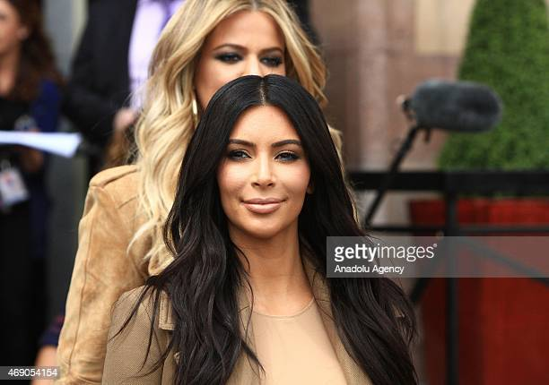 S reality TV star Kim Kardashian and her sister Khloe Kardashian take a walk through sightseeings of Yerevan during her visit in Armenia on April 09...