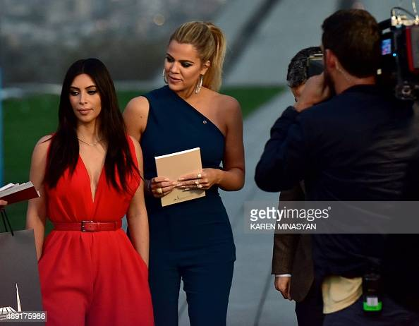 US reality TV star Kim Kardashian and her sister Khloe visit the genocide memorial which commemorates the 1915 mass killing of Armenians in the...