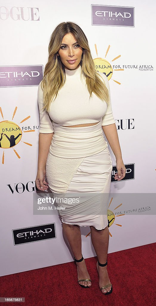 Reality TV Star Kim Kardashian attends the Dream For Future Africa Foundation's Inaugural Gala Honoring Franca Sozzani Of VOGUE Italia at Spago on October 24, 2013 in Beverly Hills, California.