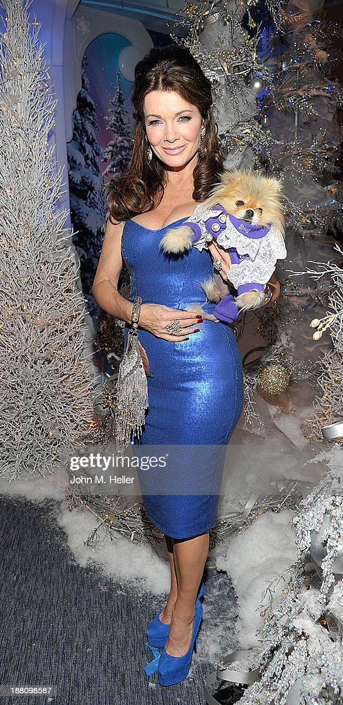 Reality TV Star <a gi-track='captionPersonalityLinkClicked' href=/galleries/search?phrase=Lisa+Vanderpump&family=editorial&specificpeople=6834933 ng-click='$event.stopPropagation()'>Lisa Vanderpump</a> and her dog Giggy attends The Kick Off 'Holiday Pet Portraits With Santa!' at The Beverly Center on November 14, 2013 in Los Angeles, California.