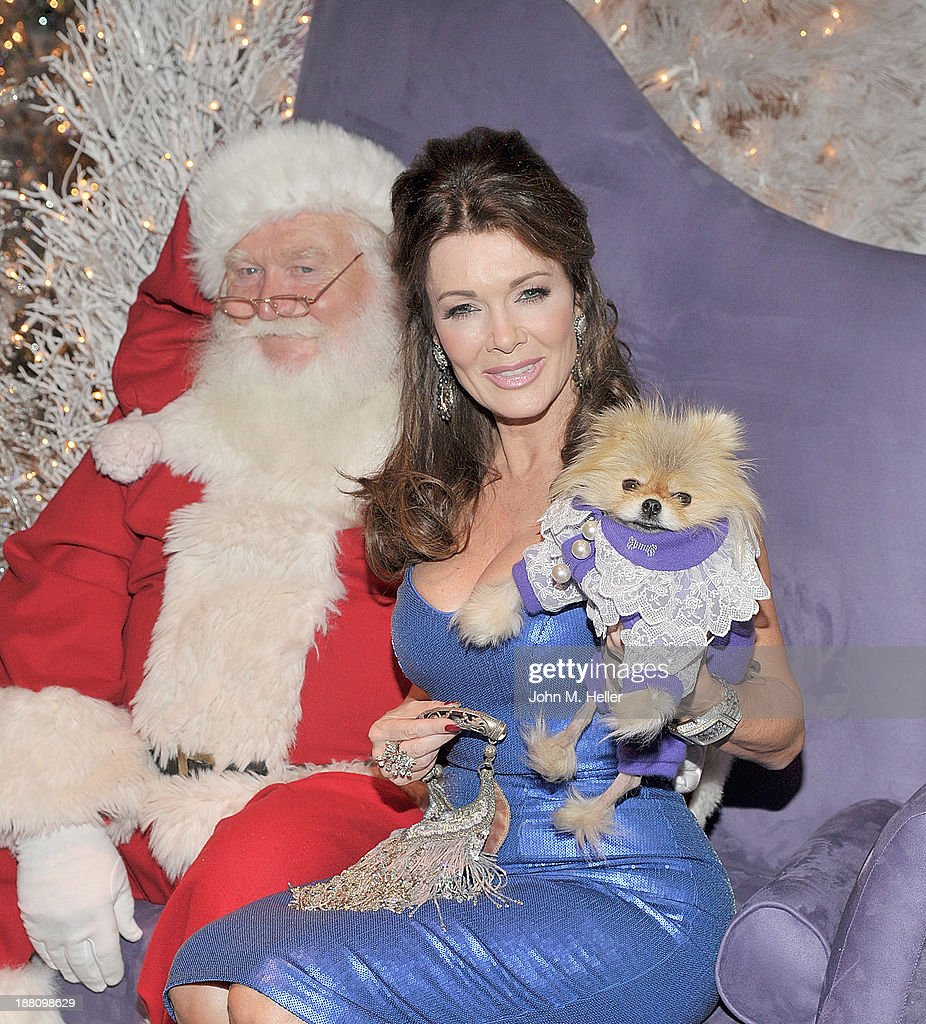 Reality TV Star Lisa Vanderpump and her dog Giggy attends The Kick Off 'Holiday Pet Portraits With Santa!' at The Beverly Center on November 14, 2013 in Los Angeles, California.