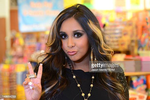 Reality TV star Nicole 'Snooki' Polizzi launches Snooki's Wild Cherry soda held at Rocket Fizz Soda Pop and Candy Shop on July 18 2012 in Los Angeles...