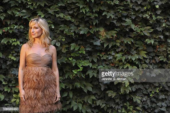Reality tv star Sonja Morgan of the 'Real Housewives of New York' poses in her garden in New York on September 29 2010 Published image