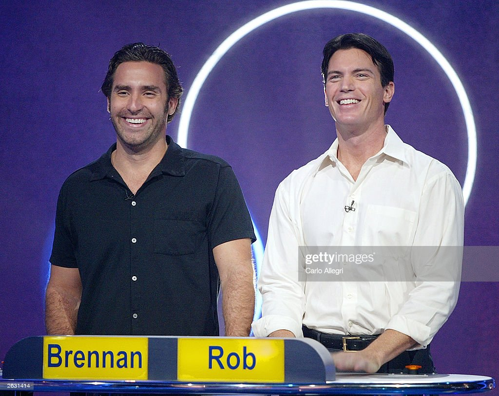 Reality TV Stars Brennan Swain (l) and Rob Frisbee compete on the Game Show Network Show Lingo on the set October 22, 2003 in Los Angeles California.