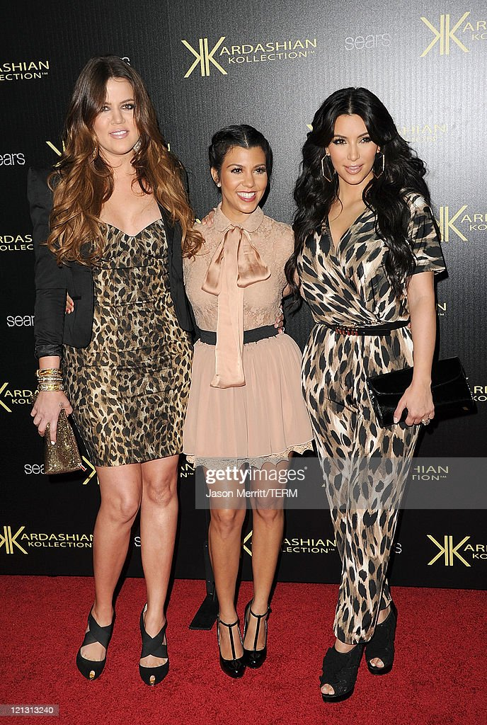 Reality TV stars Khloe Kardasian, Kourtney Kardashian, and Kim Kardashian attend the Kardashian Kollection Launch Party at The Colony on August 17, 2011 in Hollywood, California.