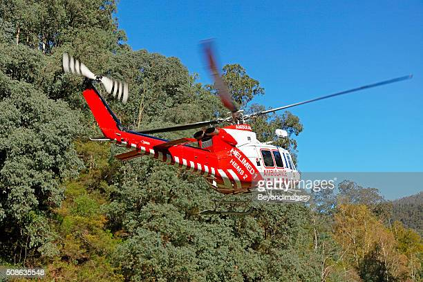 Real-life emergency medical evacuation by air ambulance helicopter