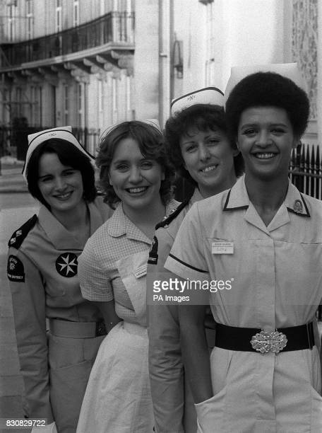 Reallife St John nurses from left to right Linda Dominguez and Sheila Jackson are joined by actresses Joanna Monro amd Angela Bruce who star as...