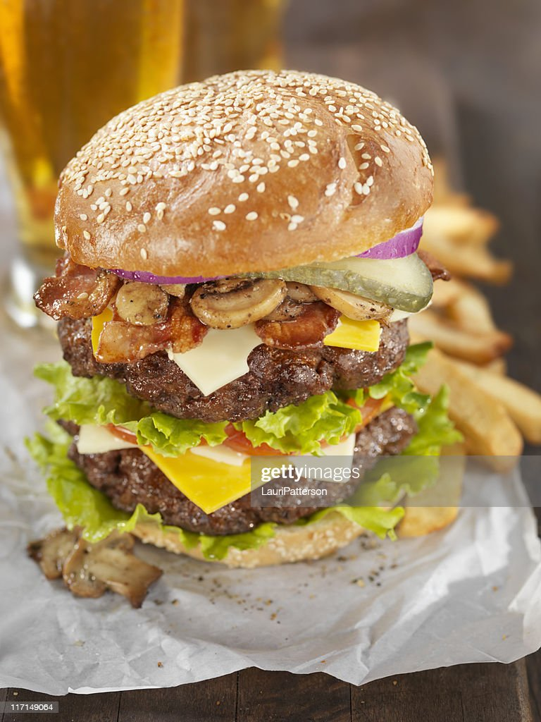Really Big Burger with a Beer : Stock Photo