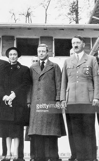 Realm leader Adolf Hitler with the Duke and Duchess of Windsor on the recent occasion when they visited the Bavarian alpine retreat of the German...