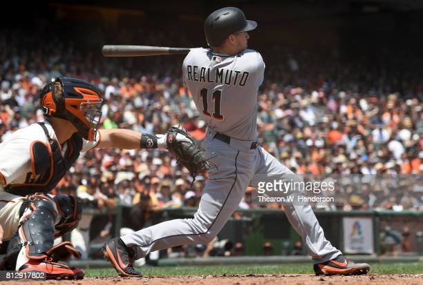 T Realmuto of the Miami Marlins bats against the San Francisco Giants in the top of the third inning at ATT Park on July 9 2017 in San Francisco...