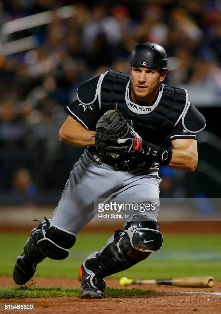 T Realmuto of the Miami Marlins in action against the New York Mets during a game at Citi Field on April 9 2017 in New York City