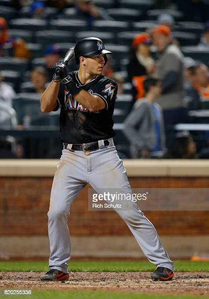 T Realmuto of the Miami Marlins in action against the New York Mets during the first inning of a game at Citi Field on April 9 2017 in New York City