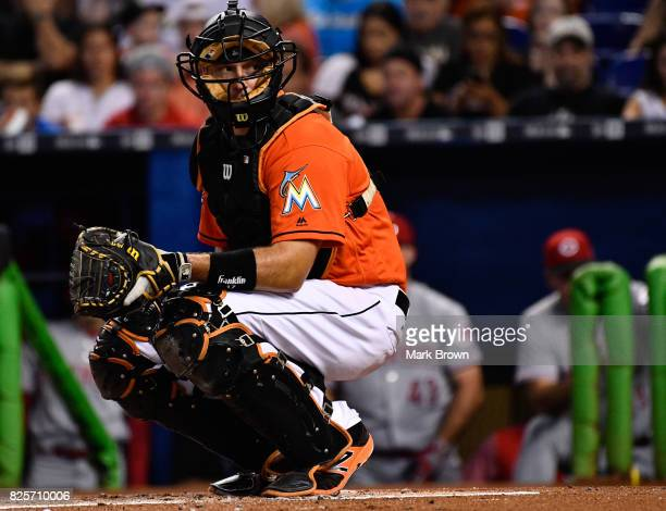T Realmuto of the Miami Marlins in action during the game between the Miami Marlins and the Cincinnati Reds at Marlins Park on July 30 2017 in Miami...