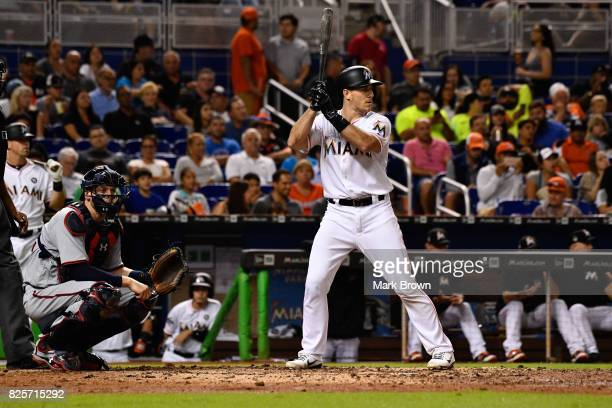 T Realmuto of the Miami Marlins in action during the game between the Miami Marlins and the Washington Nationals at Marlins Park on July 31 2017 in...
