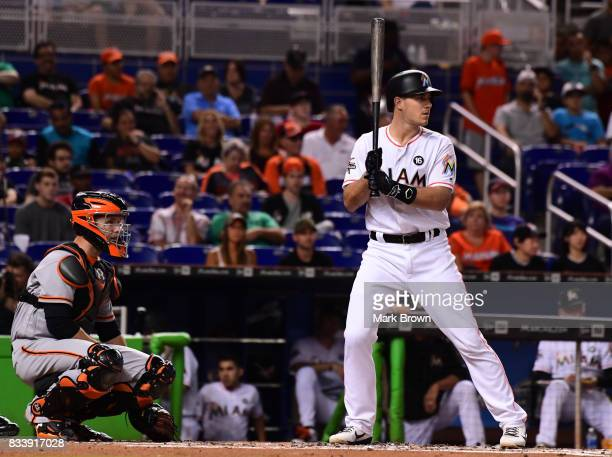 T Realmuto of the Miami Marlins in action during the game between the Miami Marlins and the San Francisco Giants at Marlins Park on August 15 2017 in...