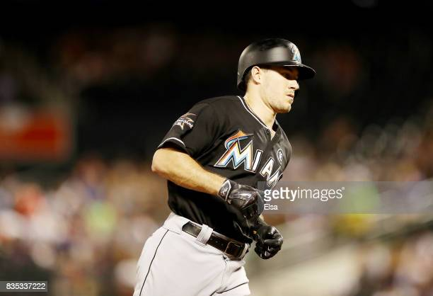 T Realmuto of the Miami Marlins rounds third base after he hit a two run home run in the second inning against the New York Mets on August 18 2017 at...