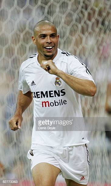 Real's Ronaldo celebrates after scoring a goal during the La Liga match between Real Madrid and Racing de Santander at the Bernabeu on May 7 2005 in...